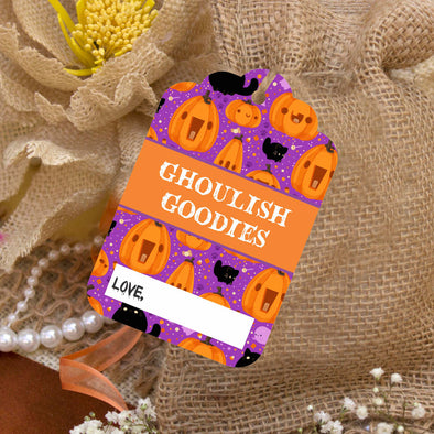 "Reusable Halloween Goodie Bag Tags ""Ghoulish Goodies"" (Set of 5)"