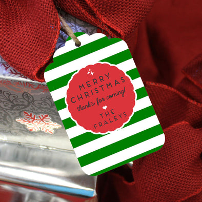 "Personalized Reusable Christmas Gift Tags ""Merry Christmas Thanks for Coming"" (Set of 5)"