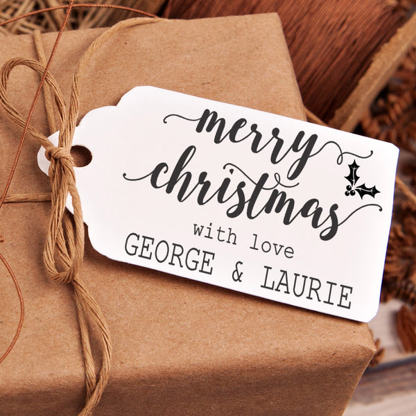 "Christmas Gift Tag Stamp - """"Merry Christmas With Love"""