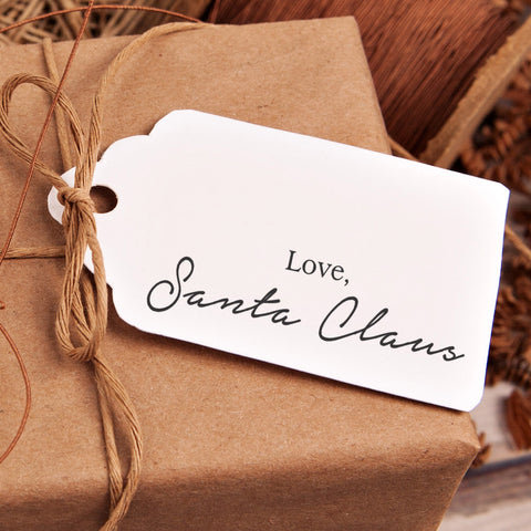"Christmas Gift Tag Stamp - ""Love Santa Claus"""