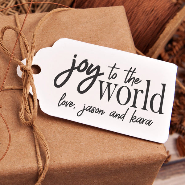 "Christmas Gift Tag Stamp - ""Joy To The World Personalized"""