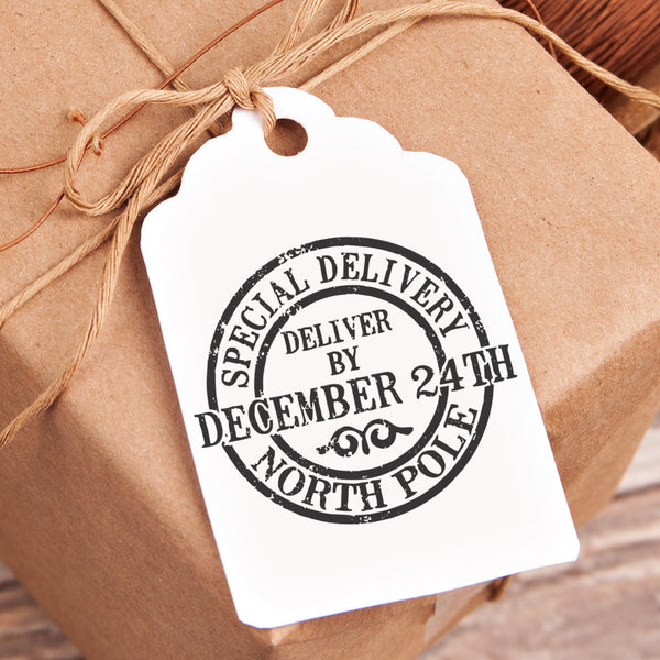 "Christmas Gift Tag Stamp - ""Special Delivery December 24th"""