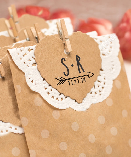 "Wedding Favor Stamp, Custom Wedding Stamp, DIY Wedding Favor Stamp ""S+R"""