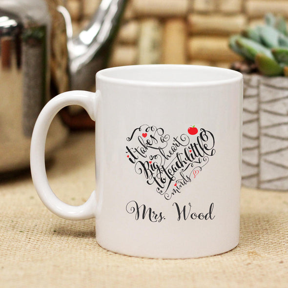 Mrs Wood Heart Teacher, Ceramic Mug