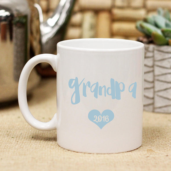 "Ceramic Mug ""Grandpa Blue Heart & Date"""