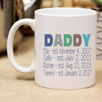 "Ceramic Mug ""Daddy With Kids Dates"""