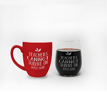 Teachers Cannot Survive on Apples Alone Mug & Wine Glass Set