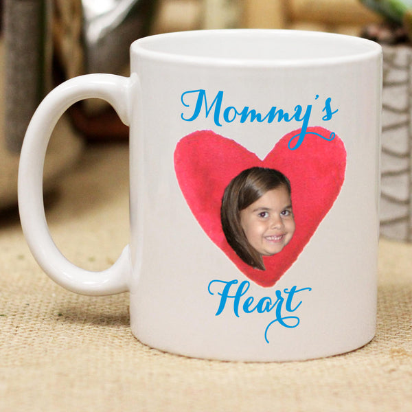 Custom Mommy's Heart Photo Mug, Personalized Photo Mug, Custom Mug, Picture Mug, Custom Coffee Mug, Personalized Coffee Mug, Personalized Photo Mug