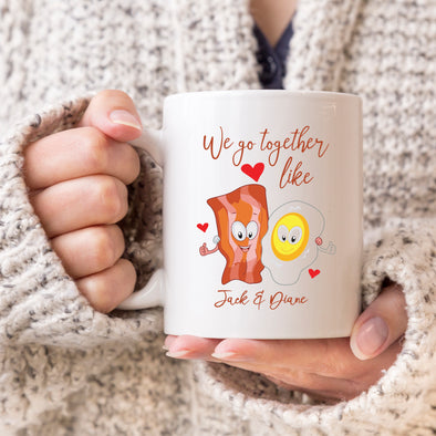 "We Go Together Like Bacon & Eggs, Custom Mug, Personalized Mug, Cute Custom Mug, Valentine's Day Mug, Couple Mug ""Jack & Diane"""