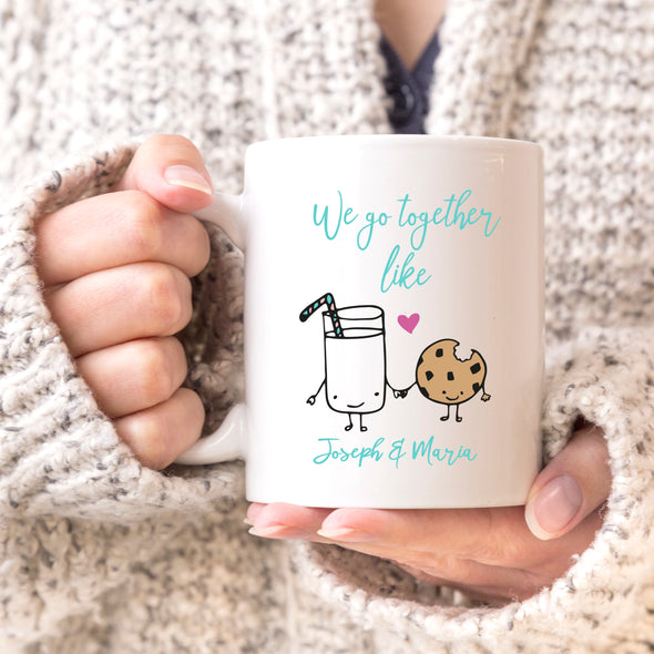 "We Go Together Like Milk & Cookies Custom Mug, Personalized Mug, Cute Custom Mug, Valentine's Day Mug, Couple Mug ""Joseph & Maria"""