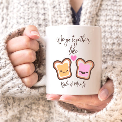 "We Go Together Like Peanut Butter & Jelly Custom Mug, Personalized Mug, Cute Custom Mug, Valentine's Day Mug, Couple Mug ""Kyle & Mandy"""