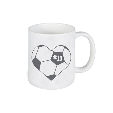 "Soccer Heart Mug, Mug with Heart Soccer Ball, Personalized Ceramic Mug, Custom Mug ""#11"""