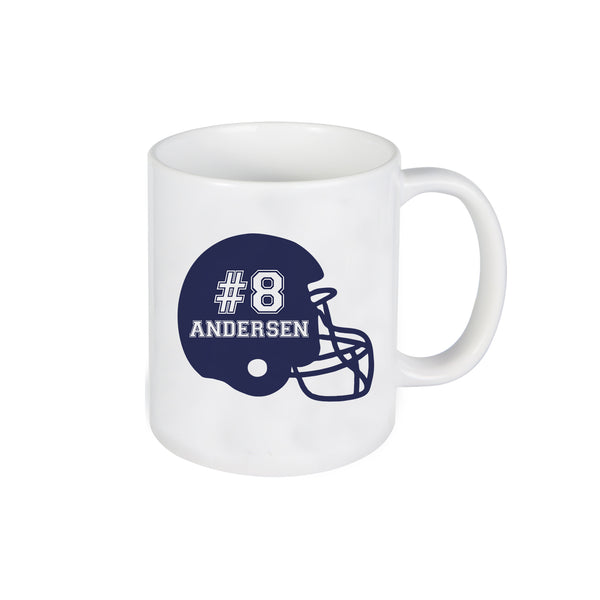 Football Helmet Mug, Mug for Kids, Personalized Ceramic Mug, Custom Mug