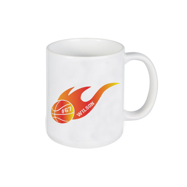 Basketball Flame Mug, Mug for Kids, Personalized Ceramic Mug, Custom Mug
