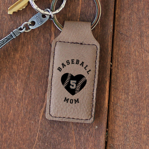 "Personalized Engraved Key Chain - ""Baseball Mom"""
