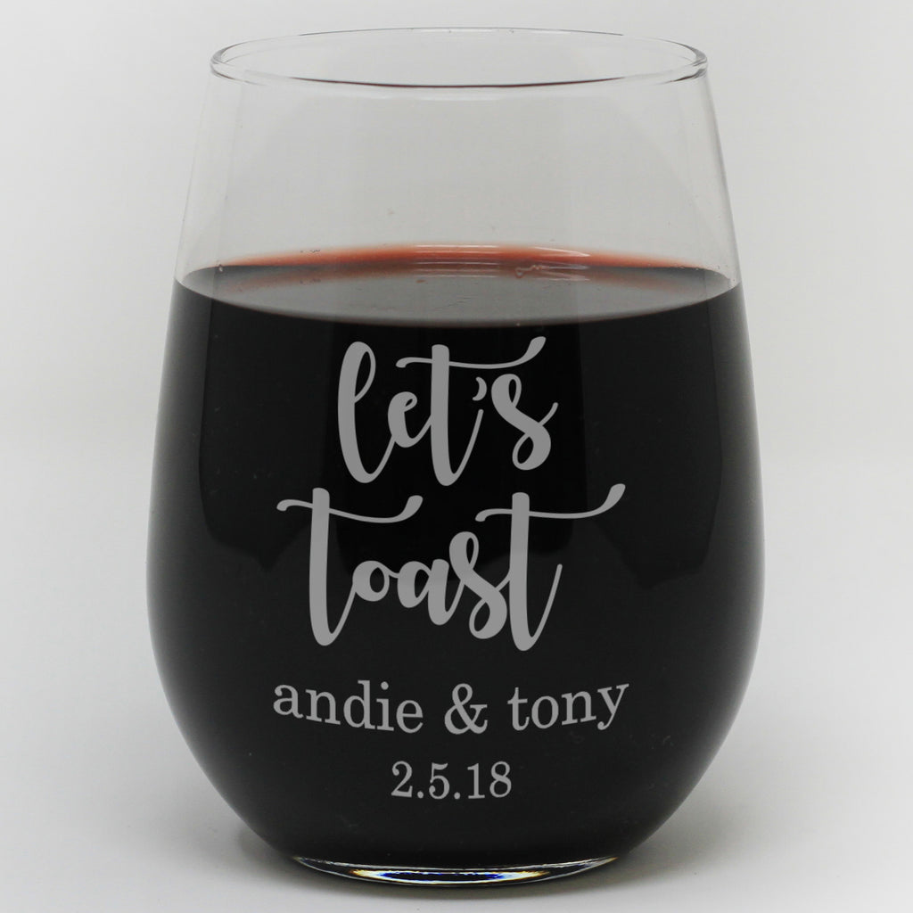 Personalized Let's Toast Wine Glass