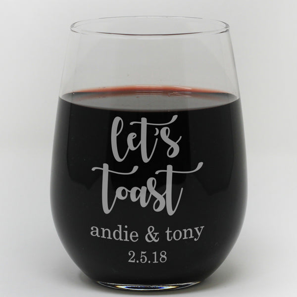 "Stemless Wine Glass - ""Personalized Let's Toast"""