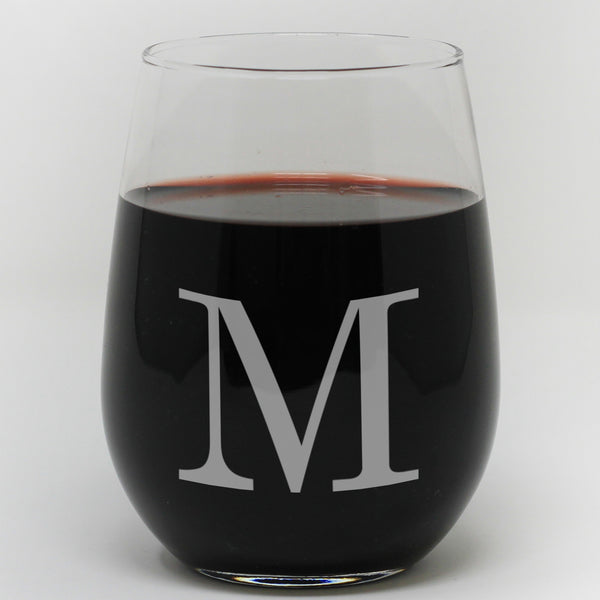 "Stemless Wine Glass - ""Personalized Initial"""