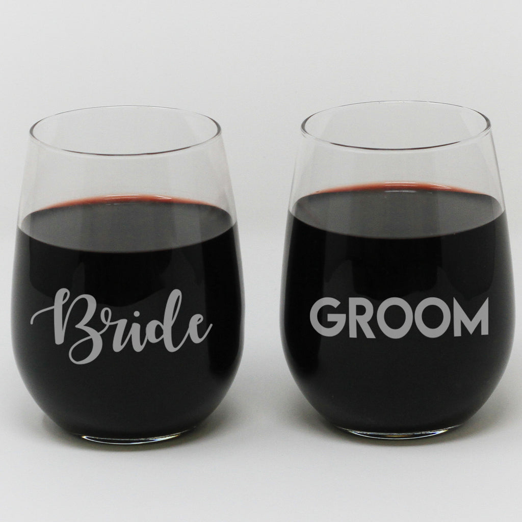 "Stemless Wine Glass Set - ""Bride & Groom"""