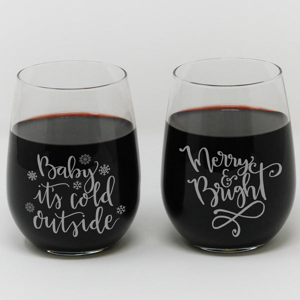 Stemless Wine Glass Quot Christmas Sayings Quot Stamp Out