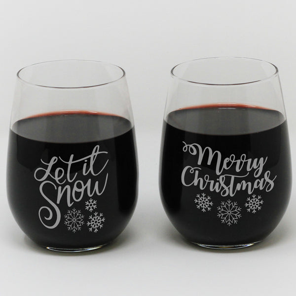 "Stemless Wine Glass - ""Let It Snow & Merry Christmas"""
