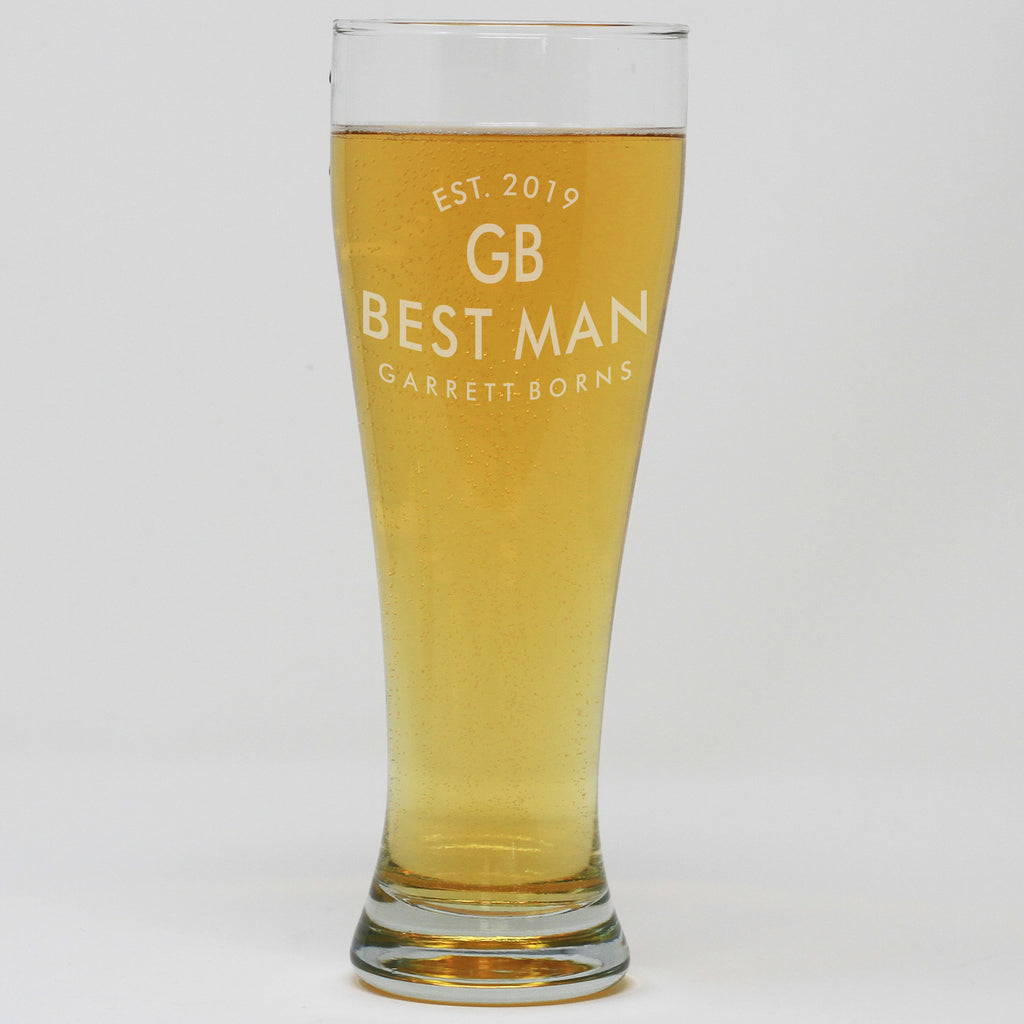 Pilsner Pint Glass - Best Man With Initials