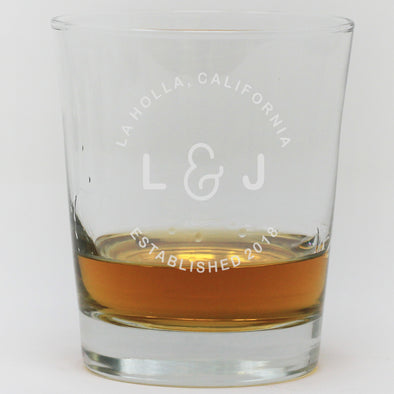 Whiskey Glass - Initials With Established