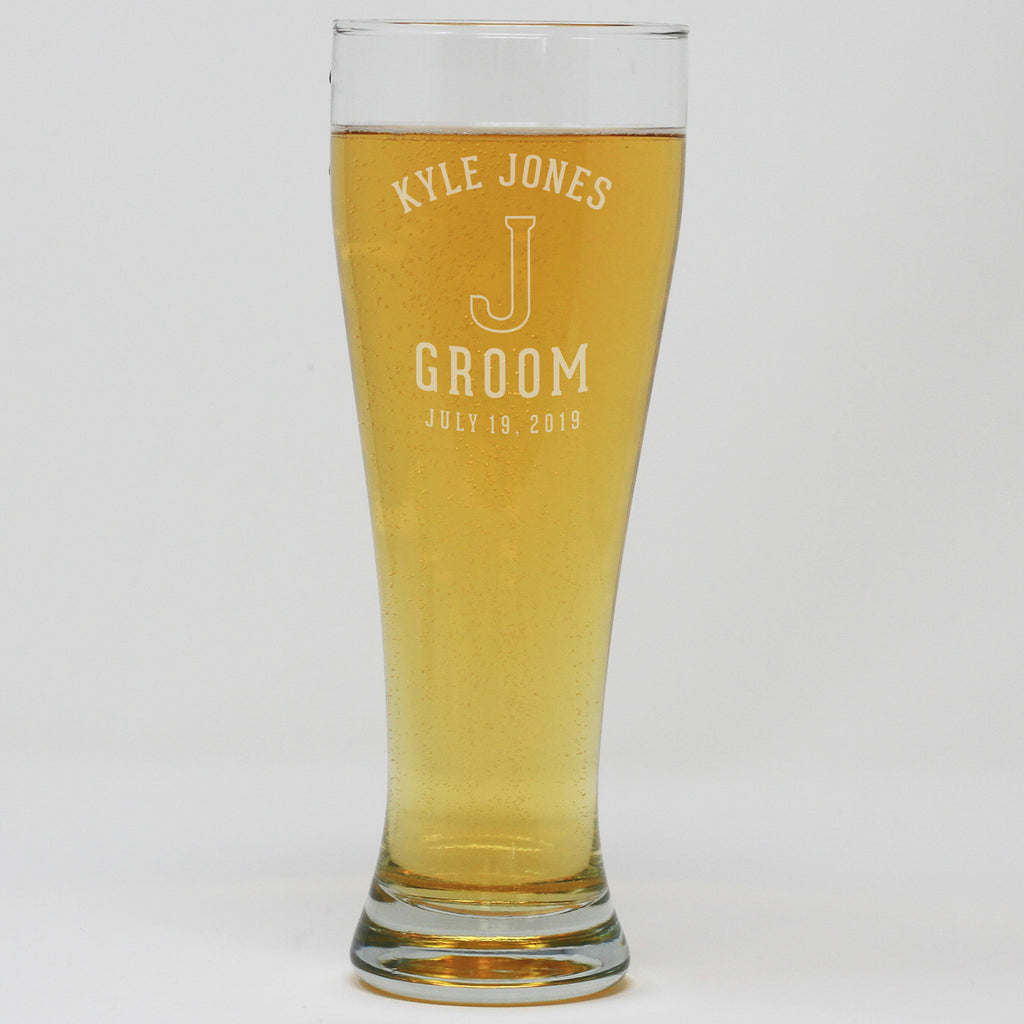 Pilsner Pint Glass - Groom With Initial