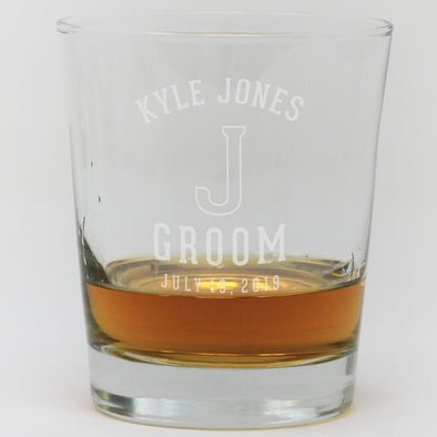 Whiskey Glass - Groom With Initial