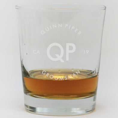 Whiskey Glass - Groomsman Initials