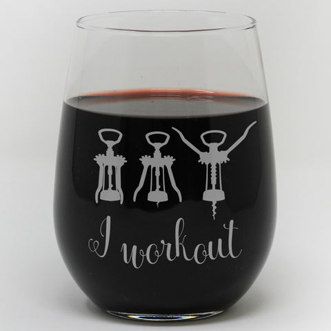 I Workout Wine Glass