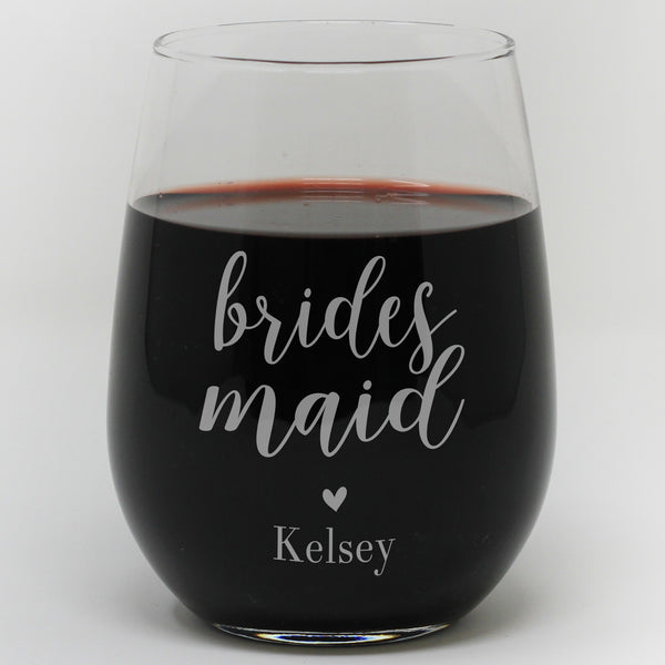 Brides Maid Wine Glass Personalized