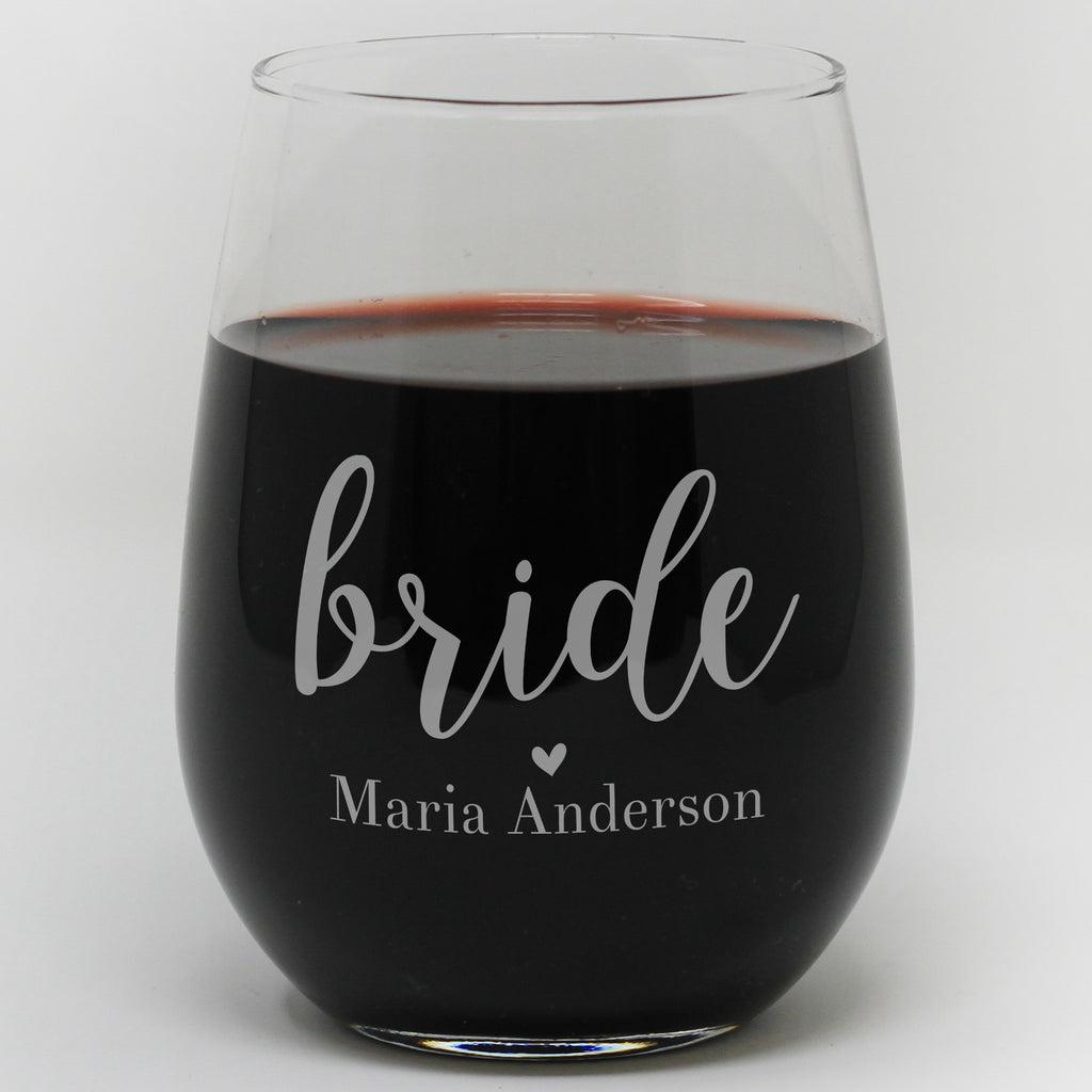 Personalized Bride Wine Glass