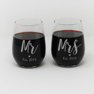 "Stemless Wine Glass set, Wedding Wine Glasses, - ""Mr. & Mrs."""