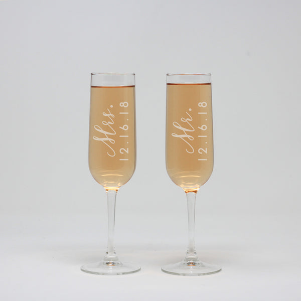 Mr And Mrs Champagne Wine Flute Glass, Custom Wedding Flutes,
