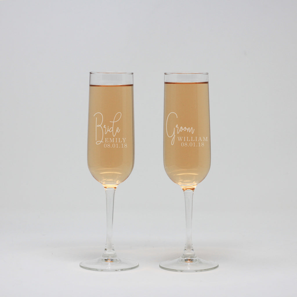 Bride And Groom Personalized Flute Wine Glasses
