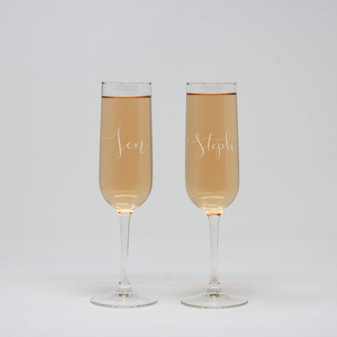 His & Hers Custom Wine Flute Glasses