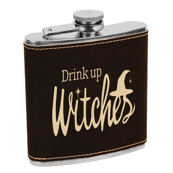 Drink up Witches Flask, Halloween Flask, Funny Halloween Flask, Silly Halloween Flask