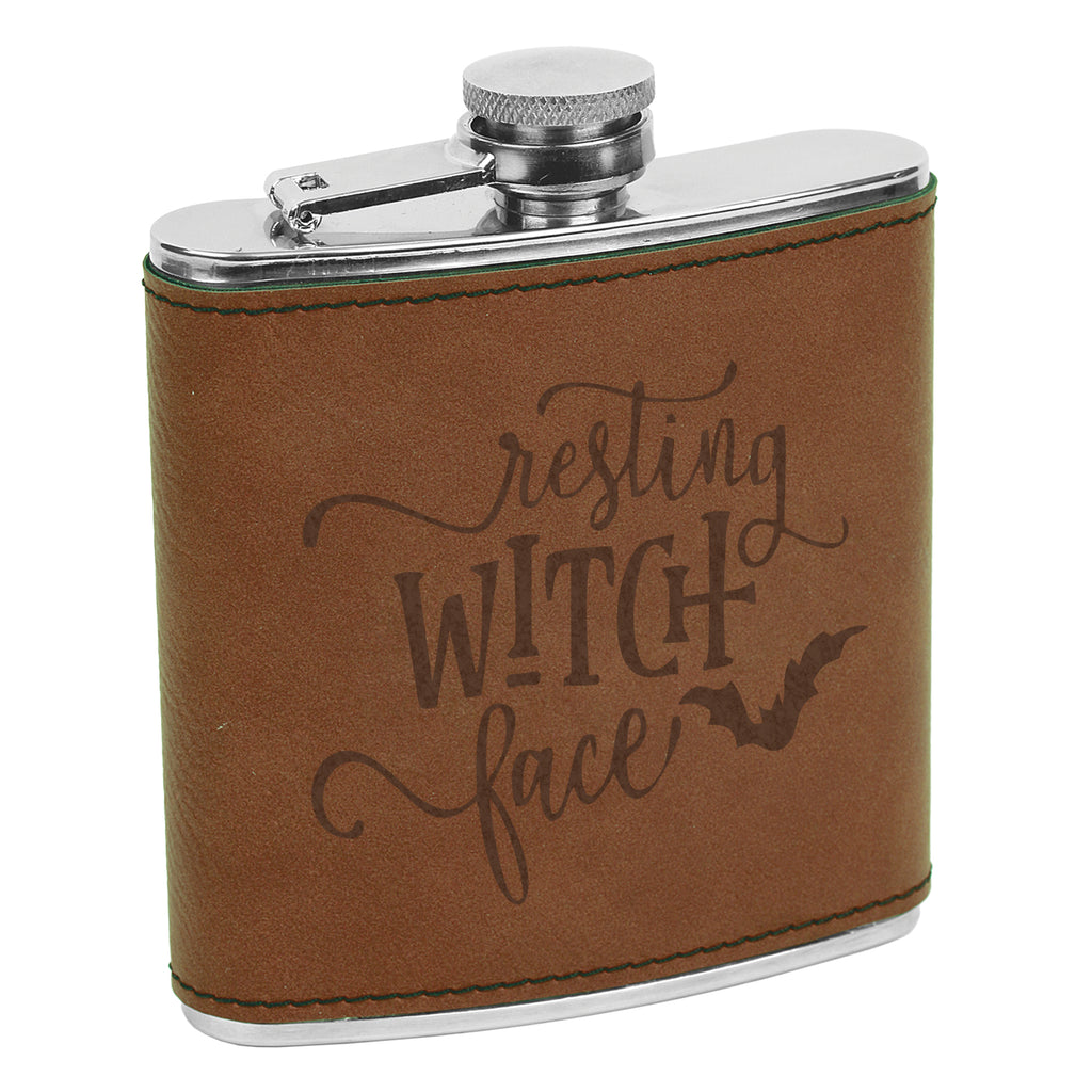 Resting Witch Face Flask, Halloween Flask, Funny Halloween Flask, Silly Halloween Flask