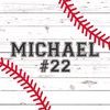 "Baseball Wall Door Sign, Kid's Room Sign, Custom Wall Sign, ""Michael"""