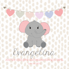 "Cute Elephant Wall Door Sign, Kid's Room Sign, Custom Wall Sign, ""Evangelina"""