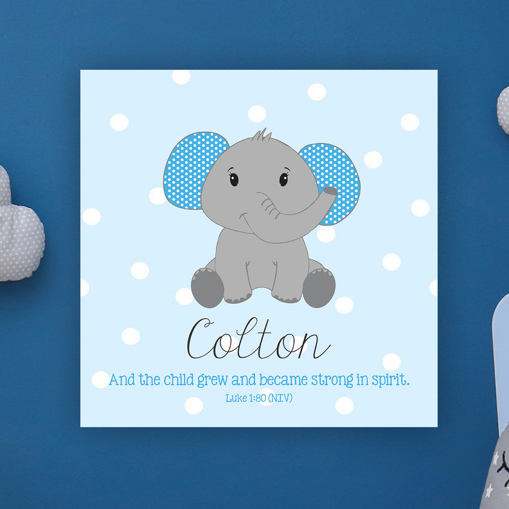 "Cute Elephant Wall Door Sign, Kid's Room Sign, Custom Wall Sign, ""Colton"""