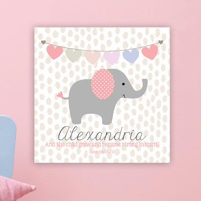 "Cute Elephant Wall Door Sign, Kid's Room Sign, Custom Wall Sign, ""Alexandria"""