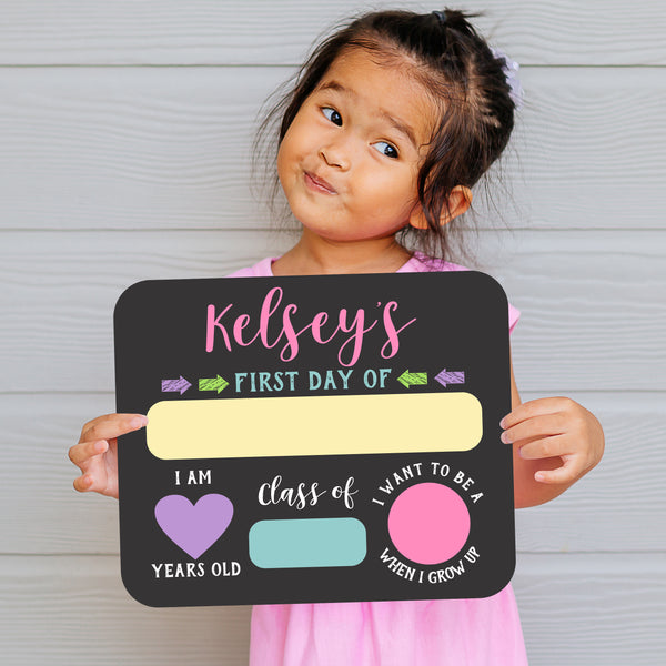 Girls First Day Of School Whiteboard Sign Reusable