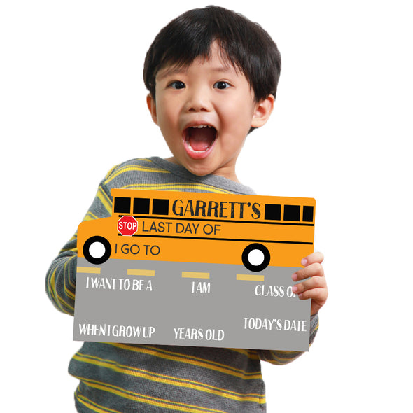 Bus Shaped First Day Of School Whiteboard Sign Reusable