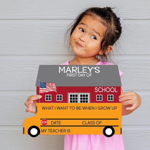Personalized First Day Of School Bus Shaped Sign