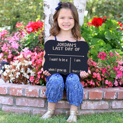 Personalized Name First Day Of School Chalkboard Sign