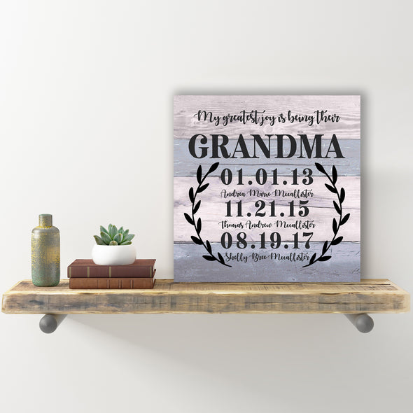 Personalized Wall Sign - Greatest Joy Is Being A Grandma