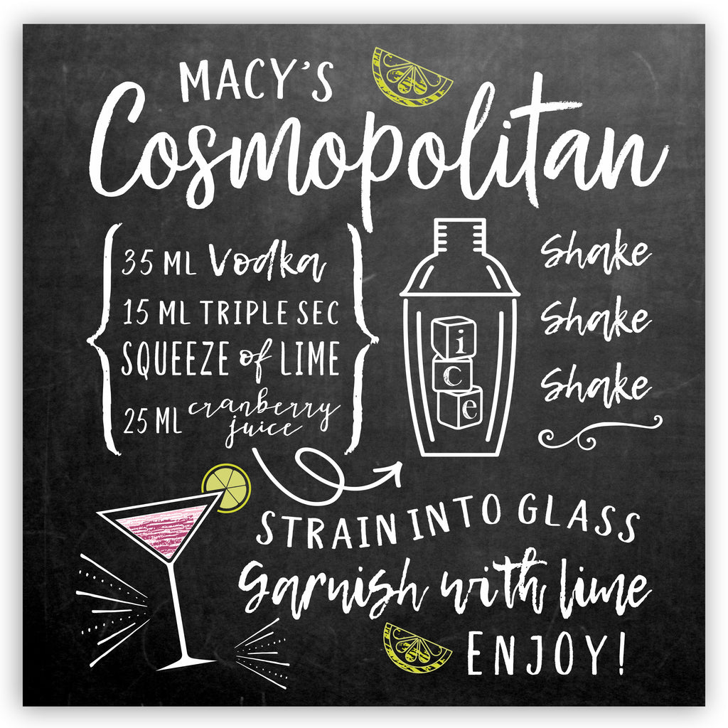 Personalized Cosmopolitan Recipe Sign