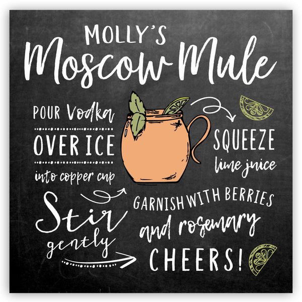 Personalized Moscow Mule Recipe Sign